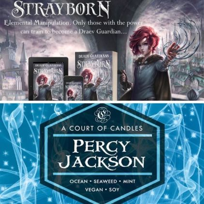 Free books, book giveaway, Percy Jackson, Strayborn, Draev Guardians books, a court of candles, book candles, the lightning thief candle, percy jackson candle, giveaway books candles,