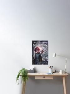 art poster, red hair girl, fantasy home decor, fantasy art decor, author E.E. Rawls, Draev Guardians merch, fantasy book series swag, fantasy book merch, fantasy book poster, fantasy book accessories, book apparel, book swag poster, fantasy book art, vampire books, vampire poster, red hair girl, wings art poster, bat wings poster, dragon poster,