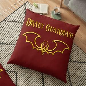 fantasy home decor, fantasy art decor, author E.E. Rawls, Draev Guardians merch, fantasy book series swag, fantasy book merch, fantasy book pillow, fantasy book accessories, book apparel, book swag pillow, fantasy book art, vampire books, gold pillow, red pillow, vampire pillows, red wings, gold wings, wings art pillow, bat wings pillow, dragon pillow,