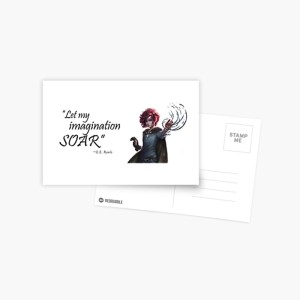 fantasy art postcards, red hair girl, book quote, fantasy book quotes, fantasy book swag, book quote swag, book quote merchandise, draev guardians, author e.e. rawls, elemental powers, heroine character art, book heroine, book character art, author quotes,