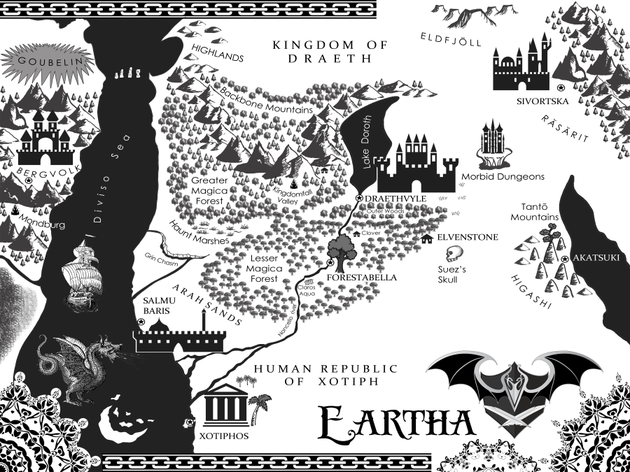 Eartha map, Strayborn, Draev Guardians, author E.E. Rawls, new fantasy author, new fantasy books, books for teens, new books for kids, new young adult books, fantasy vampire books, middle grade vampire books, books like Harry Potter, books like Percy Jackson, books like Narnia, books like Brandon Sanderson,