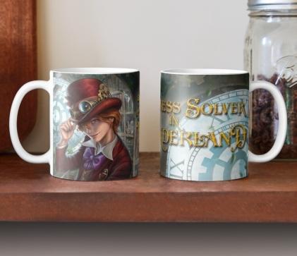Madness Solver in Wonderland, author E.E. Rawls, wonderland books, alice in wonderland books, alice in wonderland art, alice in wonderland apparel, wonderland mugs, boy steampunk art apparel, steampunk art mugs, steampunk wonderland books, steampunk wonderland art, steampunk wonderland series, new wonderland book series, steampunk wonderland mug